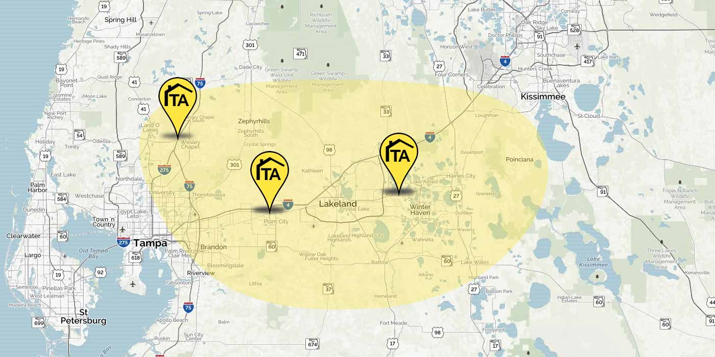 Our disaster cleanup and restoration service area in Central Florida.