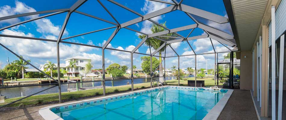 Aluminum pool cage construction in Plant City, FL.